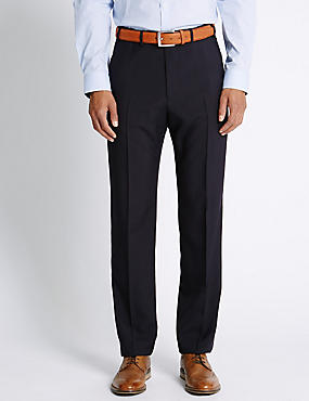 Big & Tall Regular Fit Flat Front Trousers, NAVY, catlanding