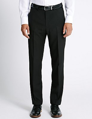 Big & Tall Regular Fit Flat Front Trousers, BLACK, catlanding