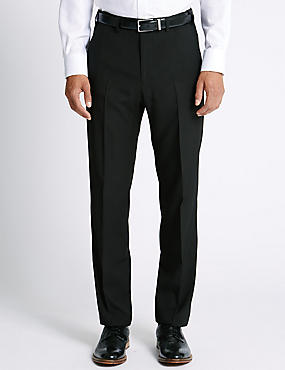 Big & Tall Flat Front Trousers, BLACK, catlanding