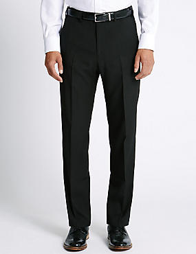 Regular Fit Flat Front Trousers, BLACK, catlanding