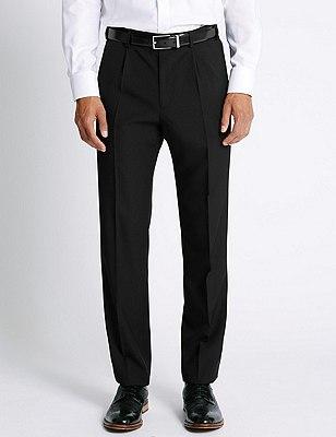 Big & Tall Single Pleat Trousers, BLACK, catlanding