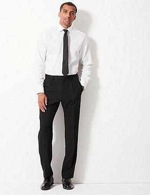 Single Pleat Trousers, BLACK, catlanding