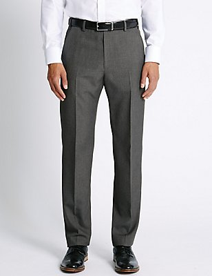 Regular Fit Flat Front Trousers, GREY, catlanding