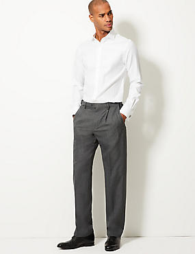 Regular Fit Single Pleated Trousers, GREY, catlanding