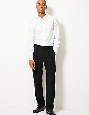 Regular Fit Twin Pleated Trousers, BLACK, catlanding