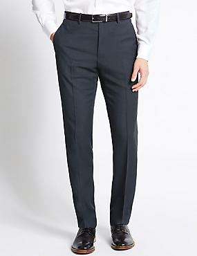 Tailored Fit Flat Front Trousers, NAVY, catlanding