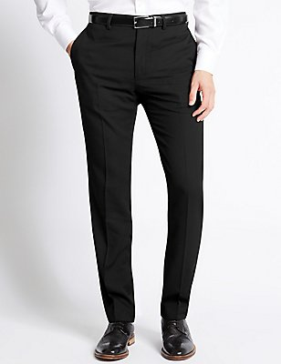 Tailored Fit Flat Front Trousers, BLACK, catlanding