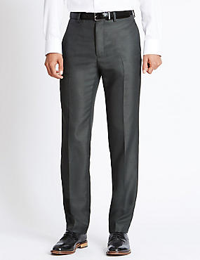 Supercrease™ Flat Front Trousers with Buttonsafe™, GREY, catlanding