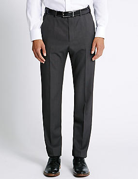 Regular Fit Flat Front Trousers, CHARCOAL, catlanding