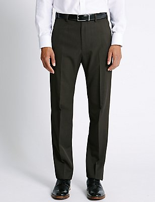 Regular Fit Flat Front Trousers, CHOCOLATE, catlanding