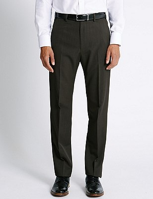 Flat Front Crease Resistant Trousers with Buttonsafe™, CHOCOLATE, catlanding