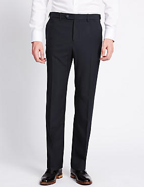 Flat Front Trousers, NAVY, catlanding