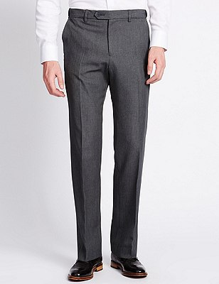 Big & Tall Flat Front Trousers, GREY, catlanding