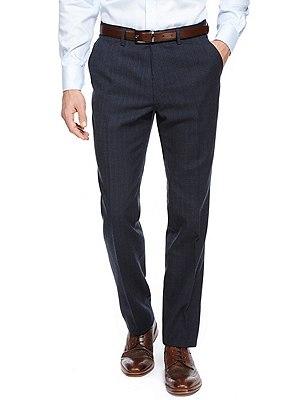 Slim Fit Flat Front Smart Trousers, NAVY, catlanding