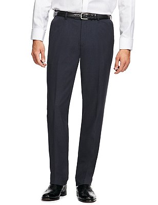 Crease Resistant Buttonsafe™ Tailored Fit Flat Front Trousers, NAVY, catlanding