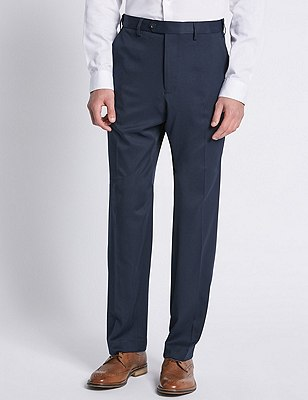 Soft Touch Flat Front Trousers, NAVY, catlanding