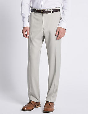 Soft Touch Flat Front Trousers, STONE, catlanding