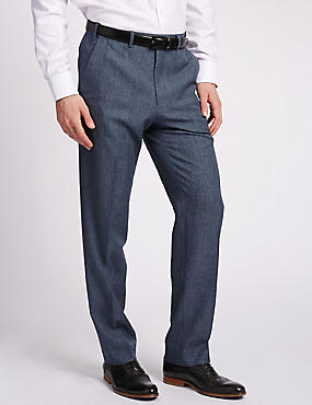 Lightweight Flat Front Trousers, DENIM MIX, catlanding