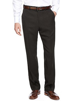 Soft Touch Flat Front Trousers, CHARCOAL, catlanding