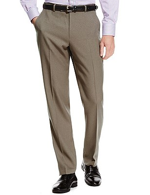 Winter Weight Active Waist Crease Resistant Flat Front Twill Trousers with Buttonsafe™, NEUTRAL, catlanding