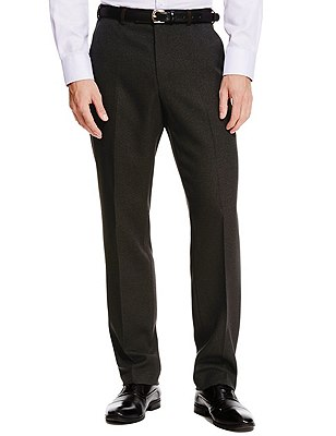 Winter Weight Active Waist Crease Resistant Flat Front Twill Trousers with Buttonsafe™, CHOCOLATE, catlanding