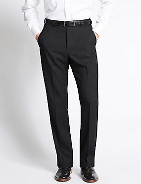 Flat Front Crease Resistant Trousers with Buttonsafe™, DARK CHARCOAL, catlanding