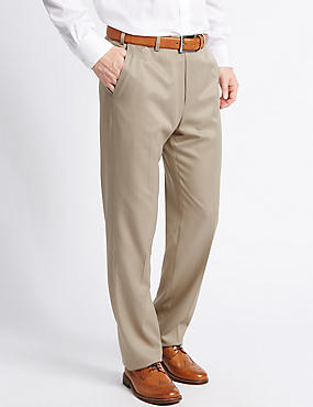 Regular Fit Flat Front Trousers, STONE, catlanding