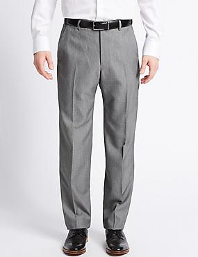 Regular Fit Textured Flat Front Trousers, DARK GREY MIX, catlanding