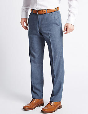 Tailored Fit Textured Flat Front Trousers, DENIM MIX, catlanding