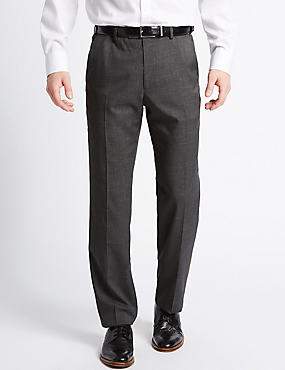Tailored Fit Textured Flat Front Trousers, CHARCOAL MIX, catlanding