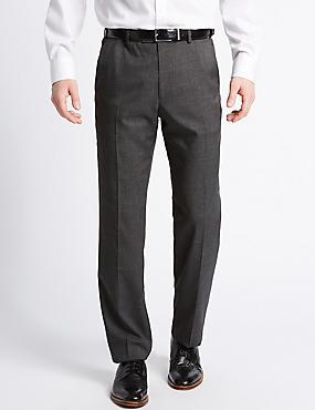 Pantalon met uitstekende pasvorm, gladde voorkant en structuurdessin, STEENKOOL MIX, catlanding