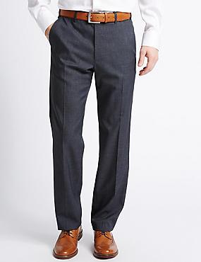 Pantalon met uitstekende pasvorm, gladde voorkant en structuurdessin, INDIGO, catlanding