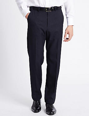 Regular Fit Textured Flat Front Trousers, NAVY, catlanding