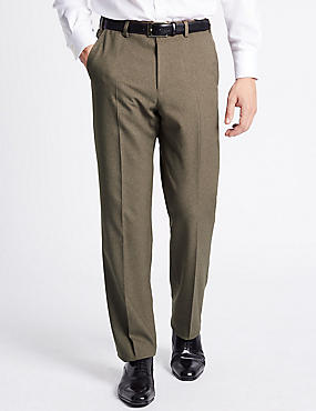 Regular Fit Textured Flat Front Trousers, NEUTRAL, catlanding