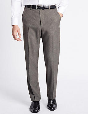 Regular Fit Textured Flat Front Trousers, GREY MIX, catlanding