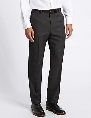 Pantalon met normale pasvorm, gladde voorkant en structuurdessin, HOUTSKOOL, catlanding