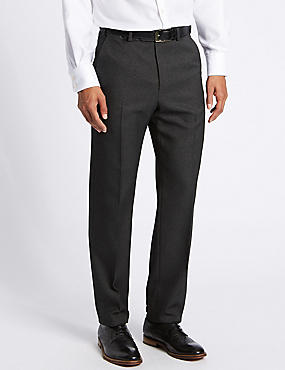 Regular Fit Textured Flat Front Trousers, CHARCOAL, catlanding