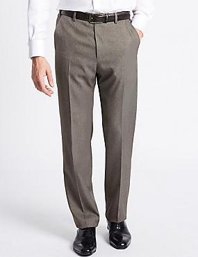 Regular Fit Textured Flat Front Trousers, NEUTRAL, catlanding