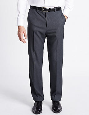 Regular Fit Textured Flat Front Trousers, INDIGO MIX, catlanding