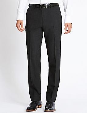 Pantalon sans pinces 100% laine mélangée, doté des technologies Stormwear™ et Supercrease™, CHARBON, catlanding