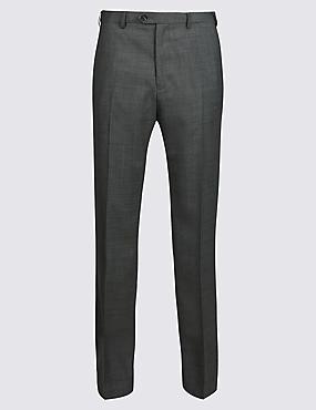 Regular Fit Wool Blend Flat Front Trousers, GREY, catlanding