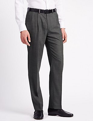 Regular Wool Blend Single Pleated Trousers, GREY, catlanding