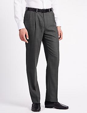 Pantalon coupe standard à pli unique en laine mélangée, GRIS, catlanding
