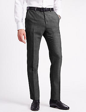 Slim Fit Flat Front Trousers with Wool, GREY, catlanding