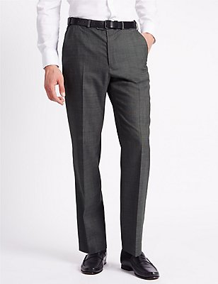 Regular Fit Wool Blend Flat Front Trousers, GREY, catlanding