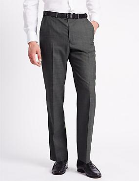 Pantalon sans pinces coupe standard en laine mélangée, GRIS, catlanding