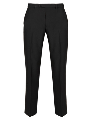 Ultimate Performance Supercrease™ Slim Fit Flat Front Trousers with Wool Clothing