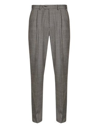 Wool Blend Supercrease™ Single Pleat Trousers with Buttonsafe™ Clothing