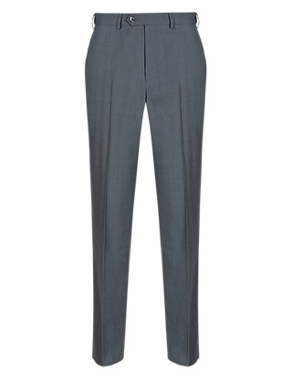 Supercrease™ Active Waistband Flat Front Trousers with Wool Clothing