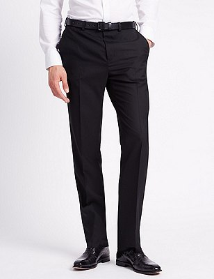 Flat Front Trousers with Wool, BLACK, catlanding